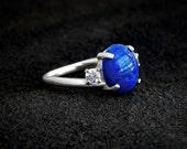 Elena: Lapis and Sterling Ring - white CZ accent, sterling silver swirl, twist, lapis lazuli jewelry, dark blue, December birthstone
