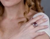 Silver Filigree Ring, Garnet Ring, Wide Silver Ring, Filigree Ring, Silver Lace RIng,Chunky Ring, Victorian Ring, Statement Bohemian Ring