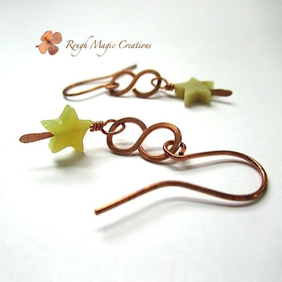 Star Earrings, Boho Jewelry, Rustic Copper, Green Stone Dangle, Long Earrings, Olive Jade, Serpentine New Jade Gemstone, Hammered Metal E227