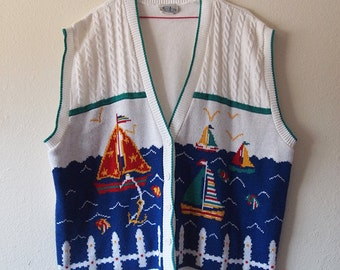 SEASIDE // Vintage 90s Ugly Sweater Vest Womens Plus Size 3XL 20W Sailboat Funny Novelty Cable Knit 1990s Preppy Ocean Scene Kawaii