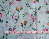 Sheer Pale Blue Fabric with Rosebuds - Two Pieces 1960s Vintage Unused Vintage Fabric