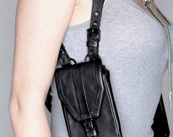 SHADOW Soft Black Leather Side Holster Bag