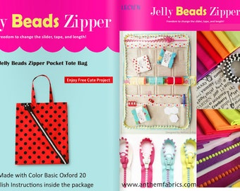 Lecien Jelly BEADS Zipper, slider and tote bag pattern - by the zipper 1 per package - choose a color