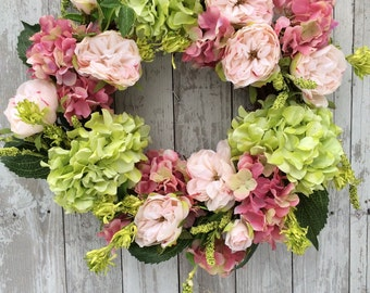 Spring Wreath, Pastel Wreath for Door, Easter Wreath, Floral Wreaths, Pink and Green Wreath