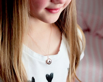 Children's Engraved Locket Necklace - MINI Locket Personalized Tiny Locket Necklace Engraved Locket Flower Girl Wedding Gift Silver Gold