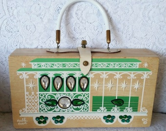 Beautiful, 1966, Enid Collins, Vintage, Wooden, Box Handbag, Cable Car