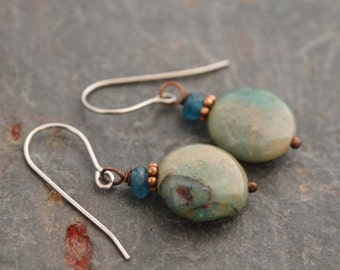 Teal Jade and Chrysocolla Earrings