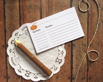 Pumpkin Recipe Cards - Rustic Bridal Shower Recipe Cards - Country Bridal Shower - Hostess Gift Idea Under 10 - Kitchen Gift Idea - Foodie