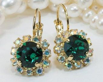 Emerald Green Earrings Emerald Swarovski Crystal Drop Earrings Christmas Green Emerald bridesmaid Gift,Emerald Wedding,AB Halo,Gold,GE96
