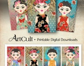 Printable art tags FRIDA KAHLO inspired, whimsical gift tags, print-it-yourself scrapbooking paper for girls party digital sheet by ArtCult