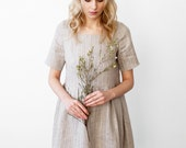 Natural Linen dress Loose fit s m shabby chic