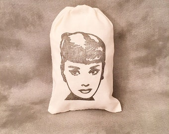 Audrey Hepburn - Set of 10 bags - 4x6 - Organic Bags - Cotton Muslin - Vintage Hollywood - Movie Star - Breakfast at Tiffanys - Fashion Icon