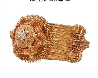 Victorian Etruscan Slide Bracelet 15K Antique Slide Bracelet 98 gm Old Mine Cut Diamonds