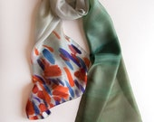 Silk scarf- Poppies Fields- Abstract shawl handpainted- OMbre scarf- Pastel green taupe scarf- Women accessory- Unique handmade scarf
