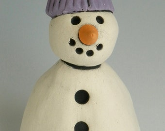 HANDMADE CLAY SNOWMAN, Snowman, Winter decor, Snowman with Purple Hat, Purple and white, Snow, Winter, Christmas Decor