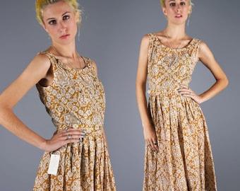 50's L'Aiglon Dress Vintage Atomic Dress With Jacket Geometric Print Day Mustard Gold Dress Size Medium Bust 36