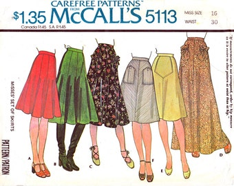 Vintage Skirt Pattern McCalls 5113 Gored Skirt, Maxi Skirt Pattern High Waist Skirt, A-Line Skirt Size 16 Womens Sewing Pattern UNCUT