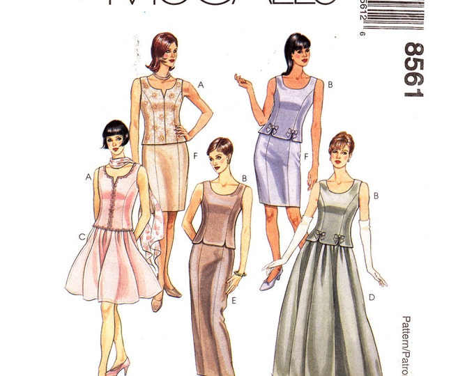 Princess Seam Top, Slim or Full Maxi Skirt Pattern McCalls 8561 Mother of Bride Size 8-12 or 12-16
