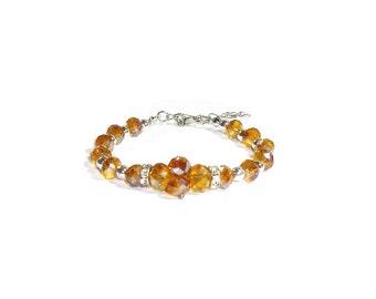 Topaz Crystal Bracelet , Faceted Topaz AB Crystals , Faceted Crystal Bracelet