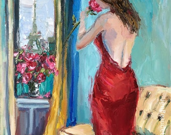 Original Oil Painting, Impressionist, palette knife painting, romantic art ,red art, colorful art, impasto