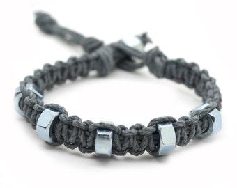 Hemp Bracelet, Washer Bracelet, Industrial Jewelry, Mens Hemp Bracelet