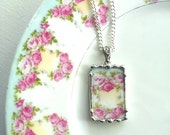 Broken china jewelry. recycled porcelain pendant necklace antique fluffy roses made from recycled china