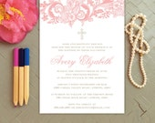 The Avery Lace Baptism Invitation / Christening Invitation / Girl Baptism Announcement / Elegant Baptism Invitations / Lace Invitations