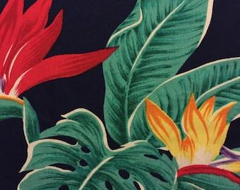 04 Festive Hawaiian Print, Inc.//Soft, Novelty, Tropical Print//Turq Palm Leaves//Red/Purple/Gold Bird of Paradise//Midnight Blue Grnd