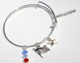 Expandable  Military Army Navy Marine Honor Charm Bracelet