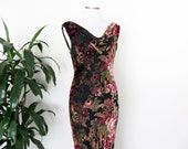 Velvet Burnout Maxi Dress Backless Cowl Neckline Sheer Velvet Lined Floral Roses Scoop Neck Sleeveless 90s
