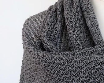 knitted merino wool lace shawl stole scarf color steel grey
