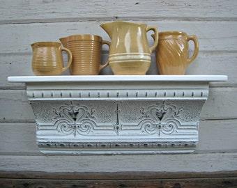 Ceiling tin wall shelf.  Architectural salvage shelf.  Bathroom kitchen shelf.   White Floating shelf.  Vintage shelf.