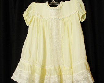 Vintage Cream Lace Baby Dress, Christening Gown