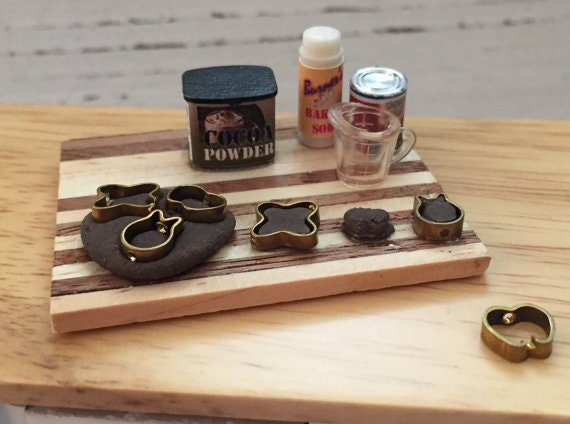 Miniature Chocolate Cookie Baking Set, Prep Board, Dollhouse 1:12 Scale Miniatures, Cookie Dough, Cutters
