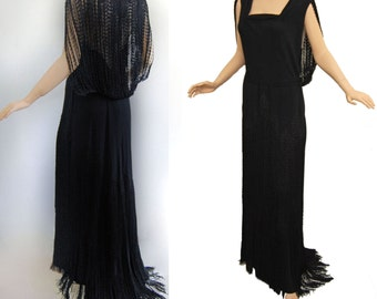 Vintage 30s Dress RARE Gloria Vanderbilt, Sonia Inc New York Paris BLACK FRINGE