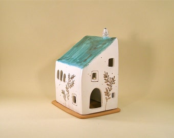 small house candle holder/green and white house with little bird/handmade ceramic house/home decor