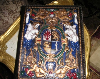 Awesome LG. Elaborate Italian Ornate Raised Images/Gods,Cherubs,Lions and Crest Leather Picture,Photo,Scrapbook Memoirs Album Extraordiner.