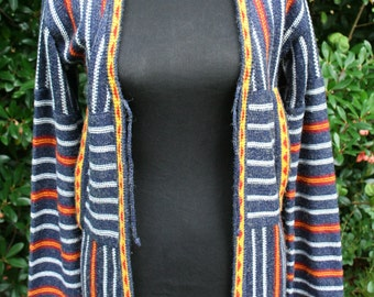Vintage Hukapoo Striped Cardigan Sweater Women Small