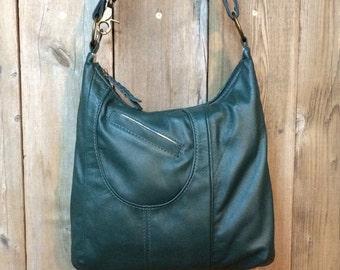 Olivia: Dark green reclaimed leather handbag