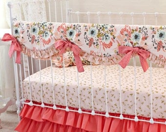 Blush Pink and Coral Crib Bedding Girl, Pink Gold Nursery Bedding, Bumperless Crib Bedding, Gold Crib Sheet, Pink Floral Baby Girl Bedding