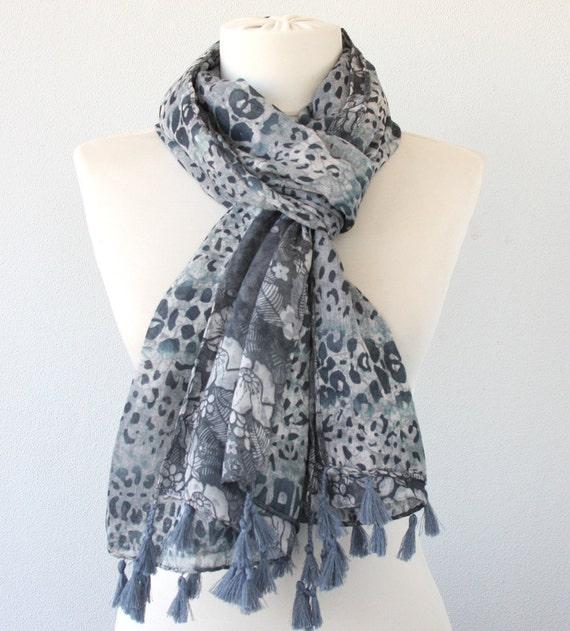 Reversible scarf animal print scarf floral scarf gray tassel scarf leopard printed scarf bohemian scarf cotton tassel scarf women fashion