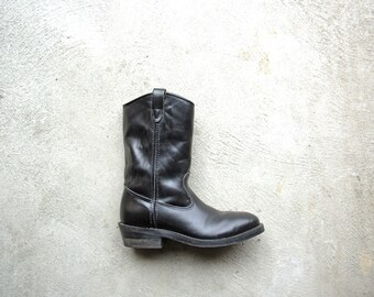 Vintage 90's black steel toe, roper cowboy boots, black motorcycle boots, size men's 8