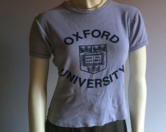 70s oxford ringer short cap sleeve baby doll stretch to form 1970s vintage collegiate university tshirt tee top medium M large L womens top
