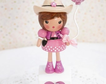 NEW ~ Sweet Personalized  Birthday Cake Topper Decoration~ Hand Painted Gift Decoration ~Wooden~Clay~Cowgirl~Little Girl Party~ Babys 1st