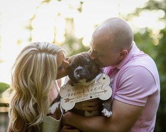 Pet Sign for Engagement Save the Date Photography - Dog Save the Date Sign for Wedding Pictures, Personalized Wedding Sign (Item - EPS100)