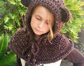 Hooded Cowl Crochet Pattern, Hooded Bear Cowl, Crochet Cowl Hoodie, Crochet Pattern, Women's Hooded Cowl, Cowl Scarf, Beneton Bear Cowl