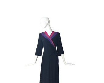 1940s Dress • 40's Crepe Dress • WWII • Large L Medium M