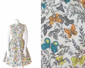 1950s Novelty Print Dress • 50s Butterfly Dress •XS S Small