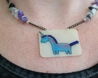 Polka Dot Unicorn Shrinky Dink Necklace