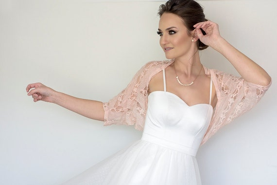 Bridal cover up plus size lace bolero bridesmaid blush